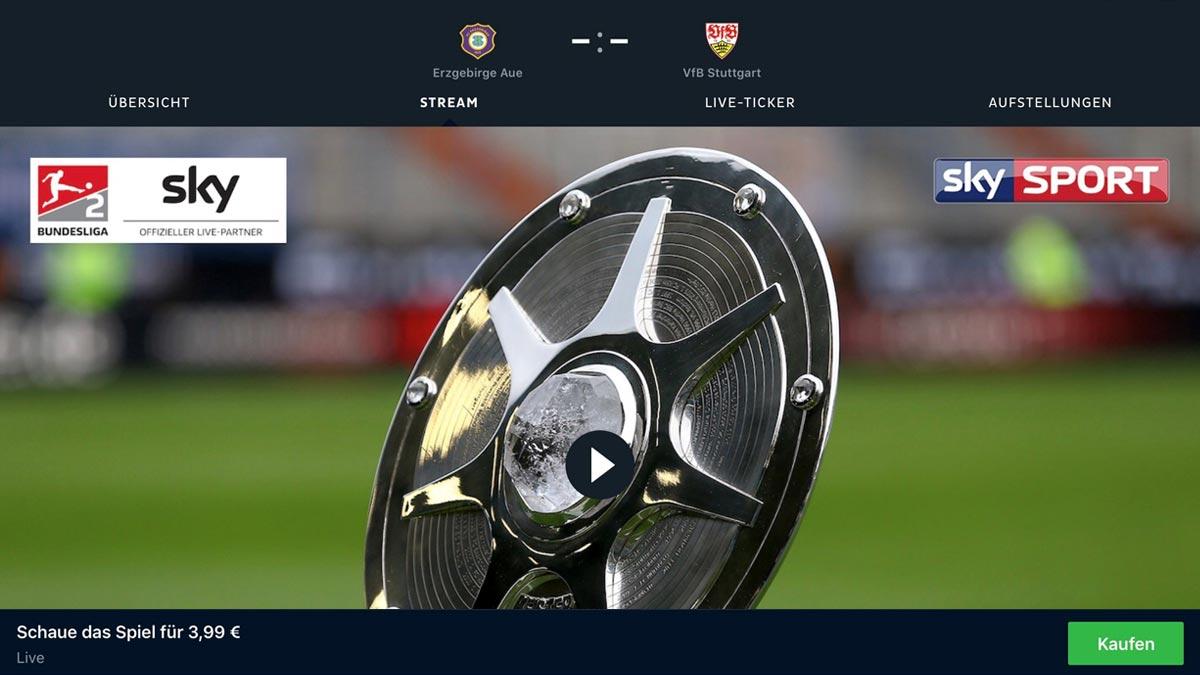 Sky Bundesliga Einzelspiele zum Abruf bei Onefootball