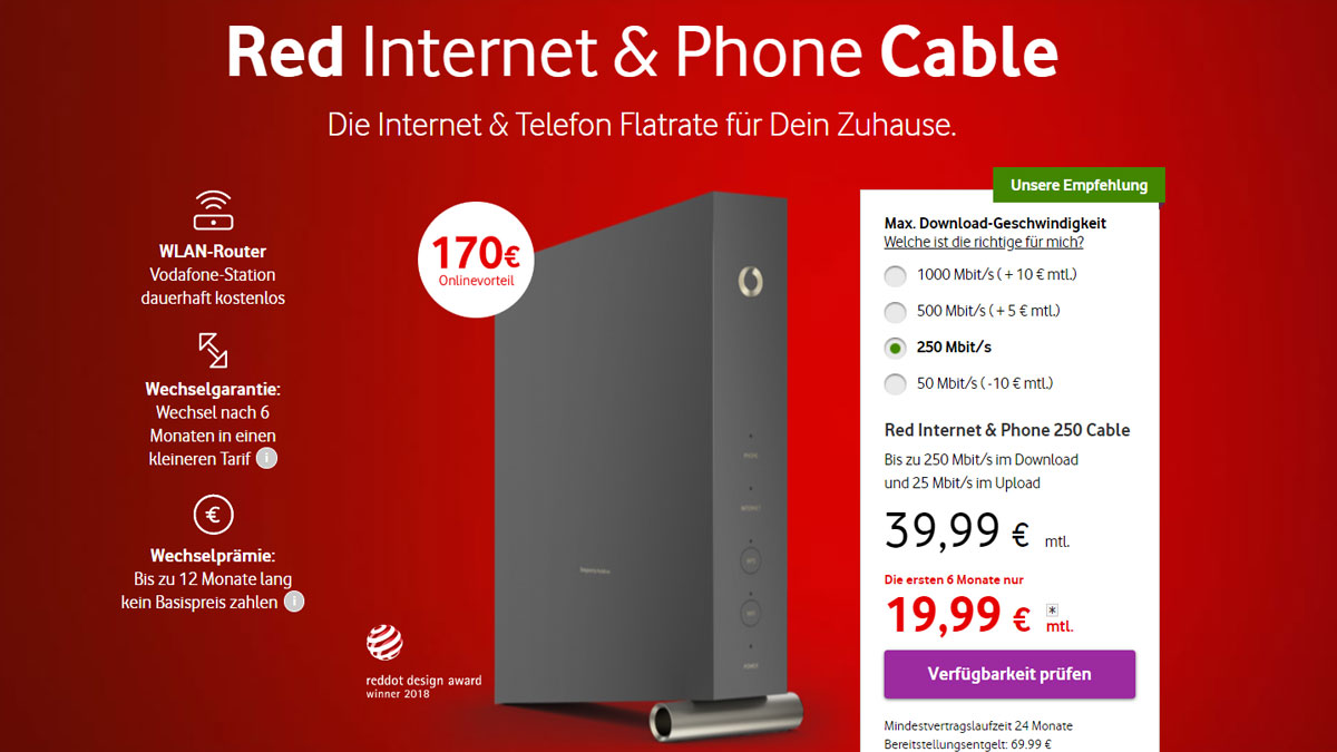Neues Vodafone Kabel Internet Angebot